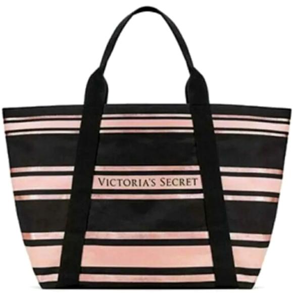 Victoria's Secret Pink Black Striped Canvas Tote